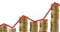 Imagen de una gráfica con monedas